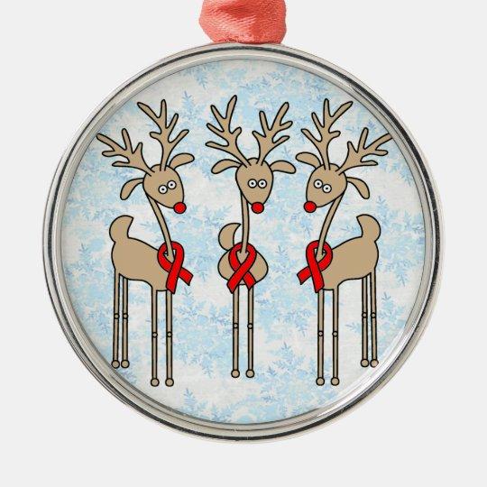 Red Ribbon Reindeer - AIDS & HIV Metal Ornament