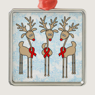 Red Ribbon Reindeer - AIDS & HIV Metal Ornament