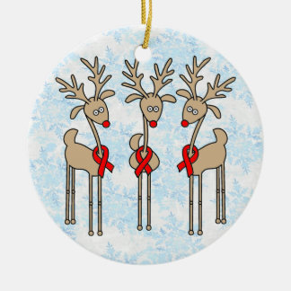 Red Ribbon Reindeer - AIDS & HIV Double-Sided Ceramic Round Christmas Ornament