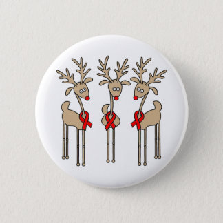 Red Ribbon Reindeer - AIDS & HIV Pinback Button