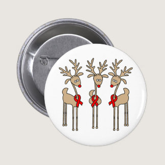 Red Ribbon Reindeer - AIDS & HIV Pinback Button