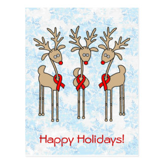 Red Ribbon Reindeer - AIDS & HIV Postcard