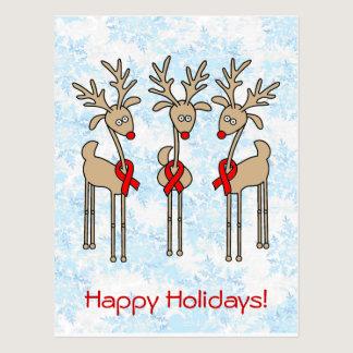 Red Ribbon Reindeer - AIDS & HIV Postcard