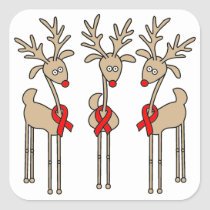 Red Ribbon Reindeer - AIDS & HIV Square Sticker