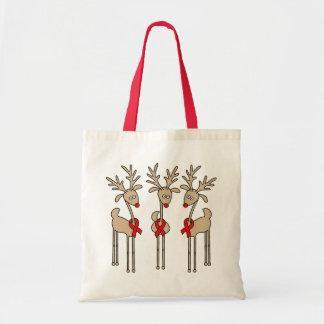 Red Ribbon Reindeer - AIDS & HIV Tote Bag