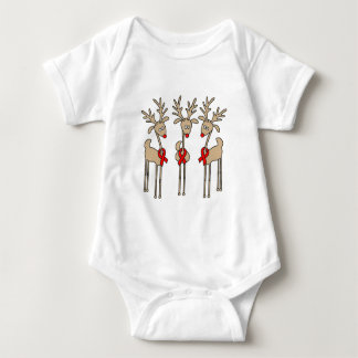 Red Ribbon Reindeer (Heart Disease & Stroke) Baby Bodysuit