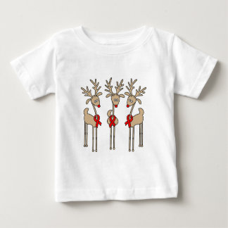 Red Ribbon Reindeer (Heart Disease & Stroke) Baby T-Shirt