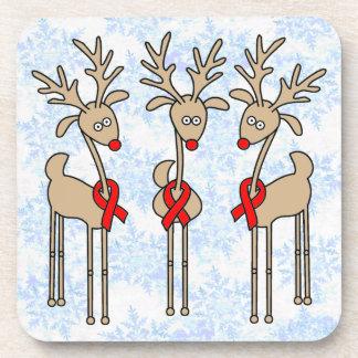 Red Ribbon Reindeer - Heart Disease & Stroke Beverage Coaster