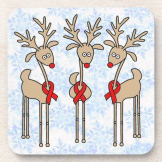 Red Ribbon Reindeer - Heart Disease & Stroke Beverage Coaster