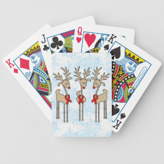 Red Ribbon Reindeer (Heart Disease & Stroke) Bicycle Playing Cards