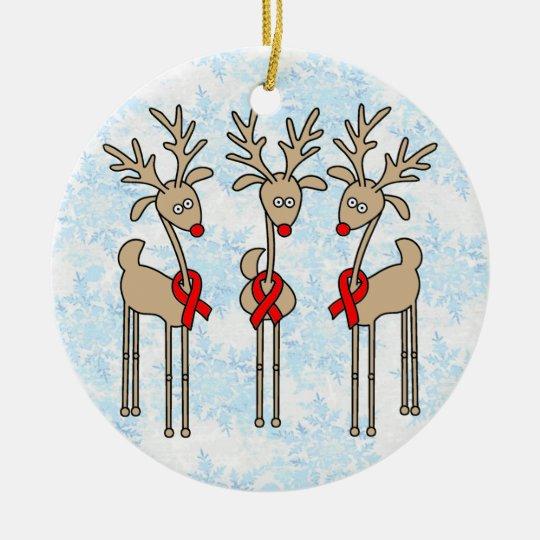 Red Ribbon Reindeer (Heart Disease & Stroke) Ceramic Ornament