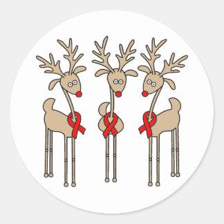 Red Ribbon Reindeer (Heart Disease & Stroke) Classic Round Sticker