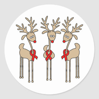 Red Ribbon Reindeer (Heart Disease & Stroke) Classic Round Sticker