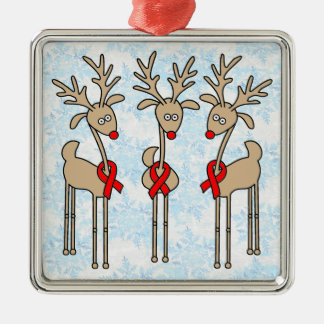 Red Ribbon Reindeer (Heart Disease & Stroke) Metal Ornament