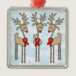 Red Ribbon Reindeer (Heart Disease & Stroke) Metal Ornament