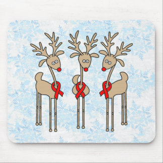 Red Ribbon Reindeer (Heart Disease & Stroke) Mouse Pad