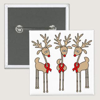 Red Ribbon Reindeer (Heart Disease & Stroke) Pinback Button