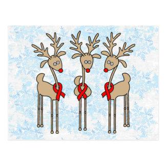 Red Ribbon Reindeer (Heart Disease & Stroke) Postcard