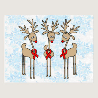 Red Ribbon Reindeer (Heart Disease & Stroke) Postcard