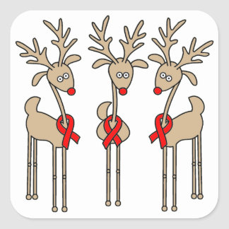 Red Ribbon Reindeer (Heart Disease & Stroke) Square Sticker