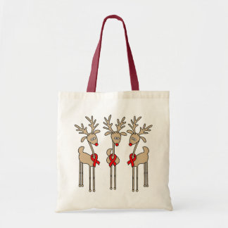 Red Ribbon Reindeer (Heart Disease & Stroke) Tote Bag