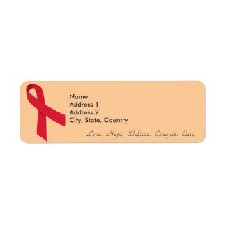 Red Ribbon Return Address Labels for Stroke, AIDS