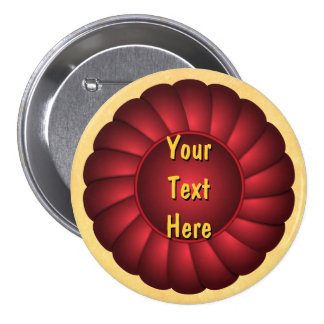 Red Ribbon Rosette to Personalize Button