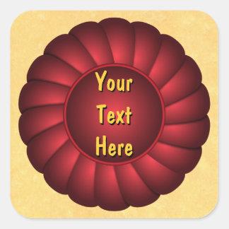 Red Ribbon Rosette to Personalize Square Sticker