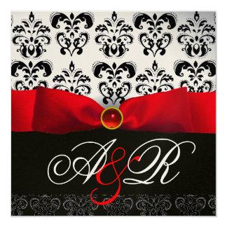 RED RIBBON RUBY WHITE BLACK  DAMASK MONOGRAM CARD