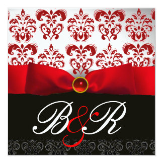 RED RIBBON RUBY WHITE BLACK  DAMASK MONOGRAM 5.25X5.25 SQUARE PAPER INVITATION CARD
