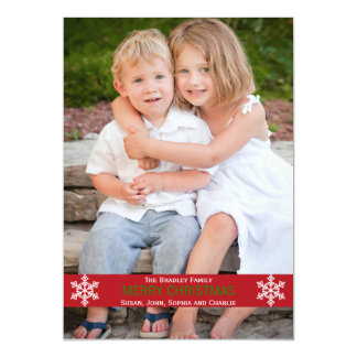 Red Ribbon Snowflake Christmas Card
