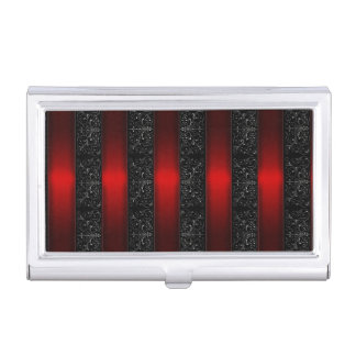 Red Ribbon Stripes Business Card Case