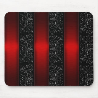 Red Ribbon Stripes Mouse Pad