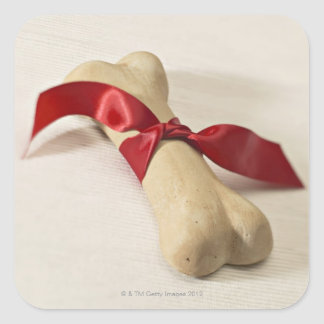 Red Ribbon Tied to Dog Treat Square Sticker