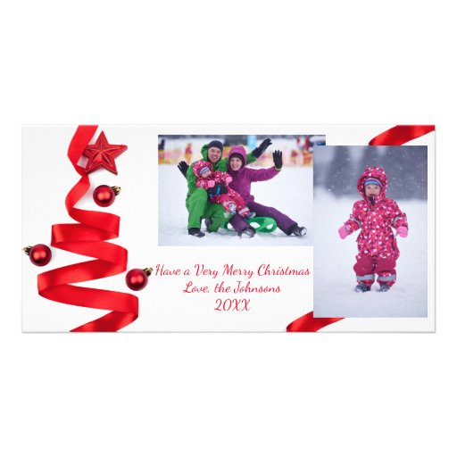 Red ribbon tree with photos christmas photo card zazzle for Red ribbon around tree