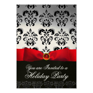 RED RIBBON WHITE BLACK  DAMASK HOLIDAY PARTY Ruby Card