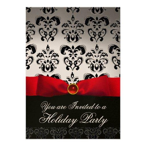 RED RIBBON WHITE BLACK  DAMASK HOLIDAY PARTY Ruby Invitation