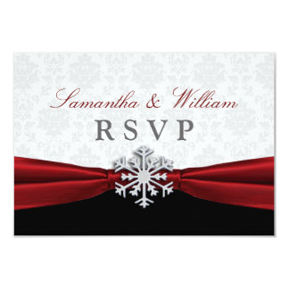 Red Ribbon Winter Wedding RSVP Announcement