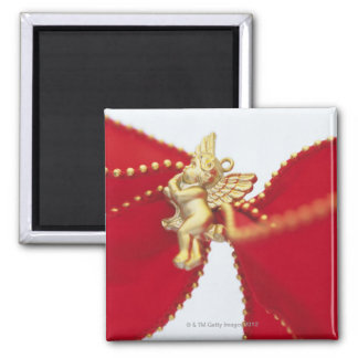 Red Ribbon with Gold Angel, Close Up, Magnet