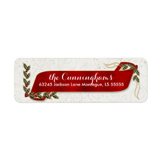 Red Ribbon with Holly and Berries Holiday Label