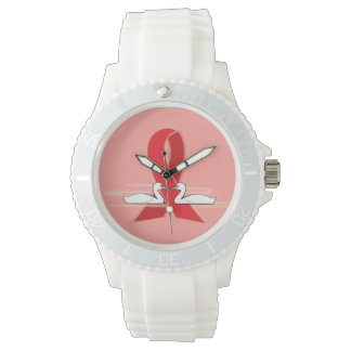 Red Ribbon with Swans: AIDS, CHF, Stroke, CHD Wrist Watch