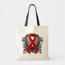 Red Ribbon with Wings Tote Bag