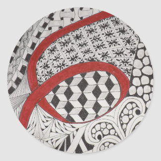 RED RIBBON ZIA CLASSIC ROUND STICKER