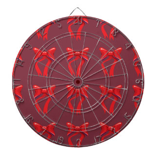 red ribbons and background dartboards