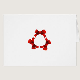 Red ribbons in circle card