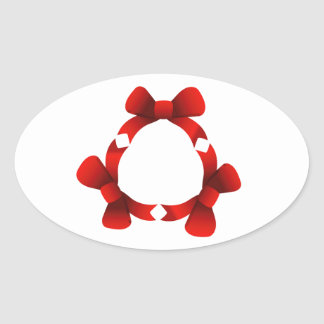 Red ribbons in circle oval sticker