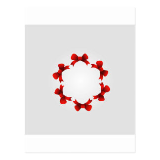 Red ribbons in circle postcard
