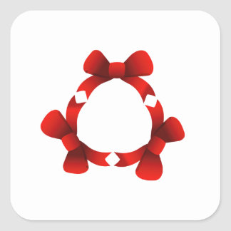 Red ribbons in circle square sticker