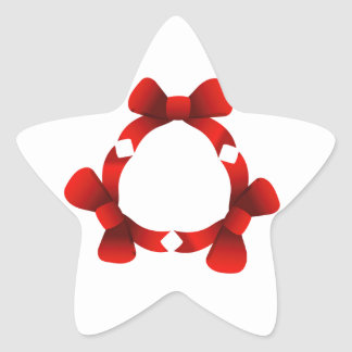 Red ribbons in circle star sticker