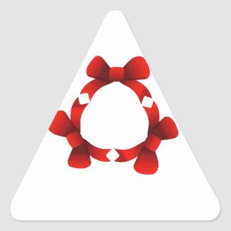 Red ribbons in circle triangle sticker